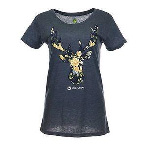 John Deere Women's Floral Deer Head T-shirt
